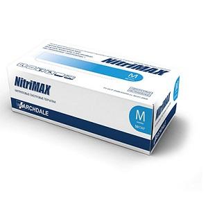 Перчатки нитриловые диагностические нестерильные голубые NitriMAX