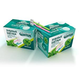 Одноразовые зубные щётки с зубной пастой, 100 шт, Sherbet