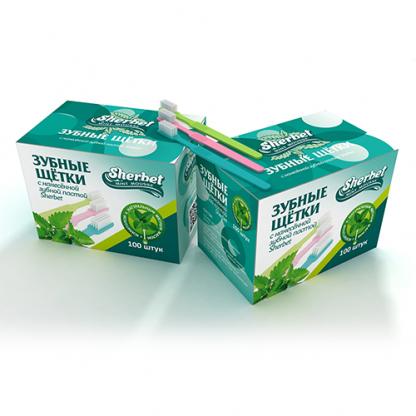Одноразовые зубные щётки с зубной пастой, 100 шт