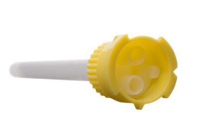Насадки смесительные стоматологические, желтые с белой спиралью, смешивание 1:1