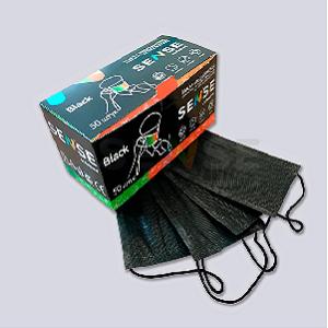 Маски 3-х слойные на резинке, черные, 50 штук, Sense (Россия)